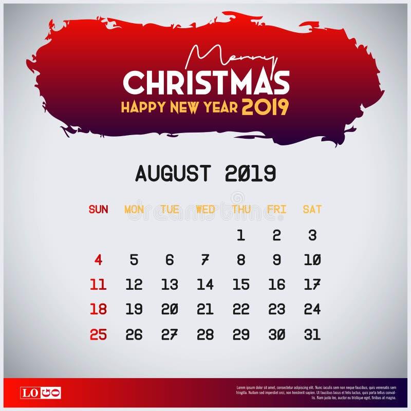 August Calendar Template 2019 fond rouge d'en-t?te de Joyeux No?l et de bonne ann?e illustration stock