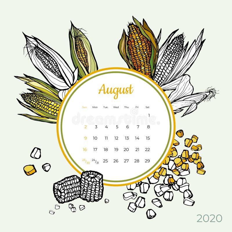 2020 August calendar vegetable. Sweet yellow corn groceries art vector set. Desk screen colorful 2020 calendar template vector illustration