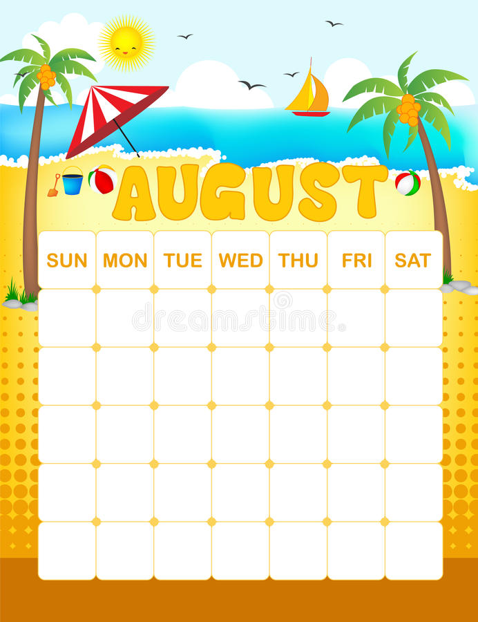 August calender. Colorful wall calender page template with seasonal graphics for each month. August summer themed calender page royalty free illustration