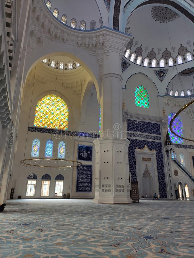 04 August 19 CAMLICA MOSQUE courtyard view in Istanbul, Turkey. Camlica Mosque is Turkey`s biggest mosque stock photo