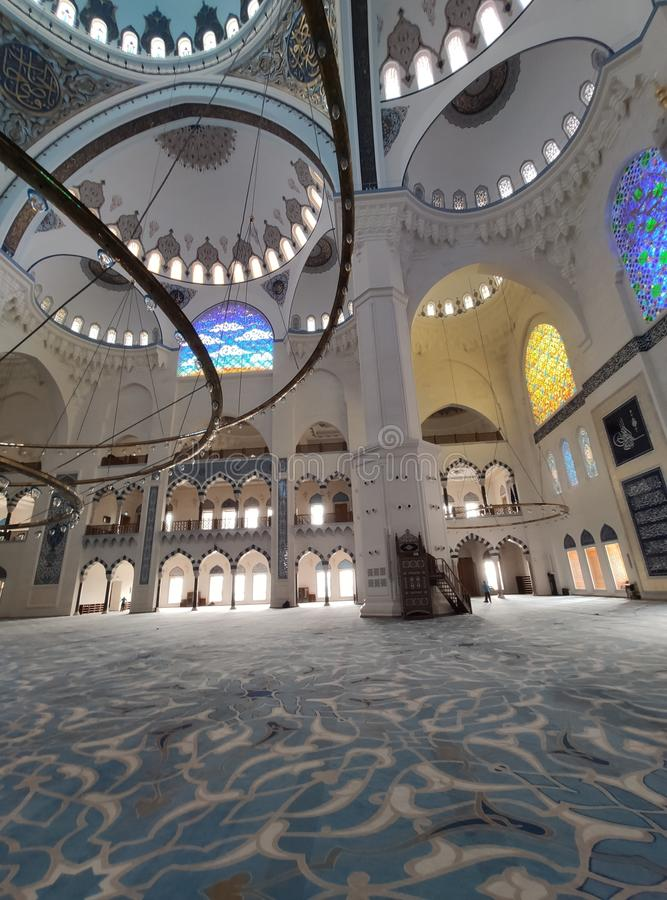 04 August 19 CAMLICA MOSQUE courtyard view in Istanbul, Turkey. Camlica Mosque is Turkey`s biggest mosque. Turkey stock photo