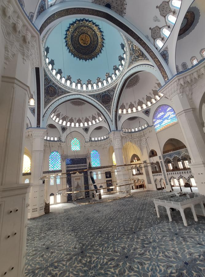 04 August 19 CAMLICA MOSQUE courtyard view in Istanbul, Turkey. Camlica Mosque is Turkey`s biggest mosque. Turkey royalty free stock image
