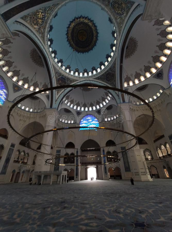 04 August 19 CAMLICA MOSQUE courtyard view in Istanbul, Turkey. Camlica Mosque is Turkey`s biggest mosque. Turkey royalty free stock photo