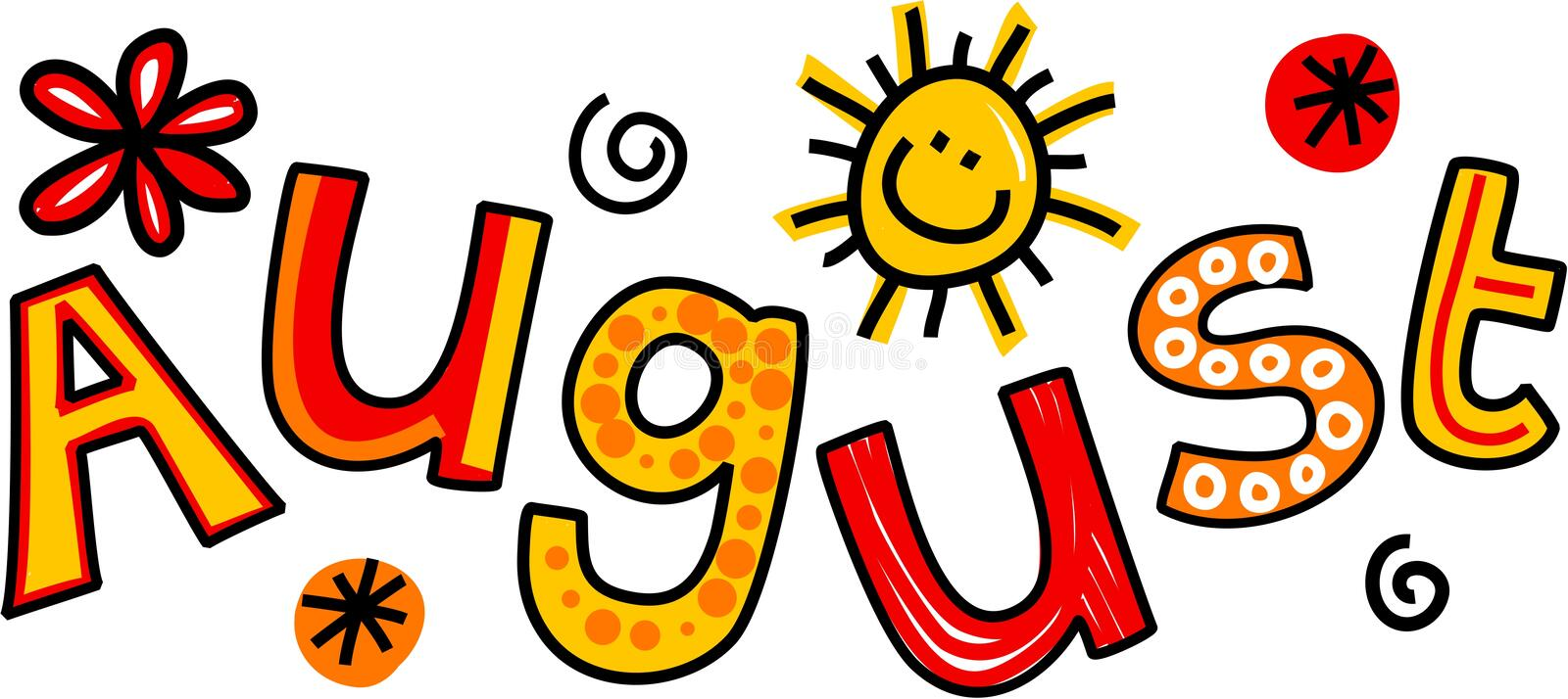 August Clip Art illustrazione di stock