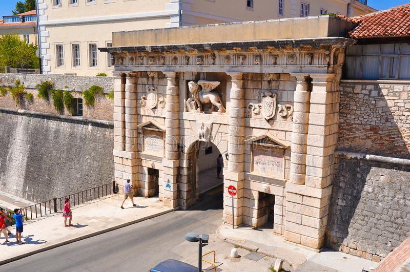 August 21, 2012. Croatia, Zadar: The Landward gate with the Lion of Saint Mark in Zadar royalty free stock photo