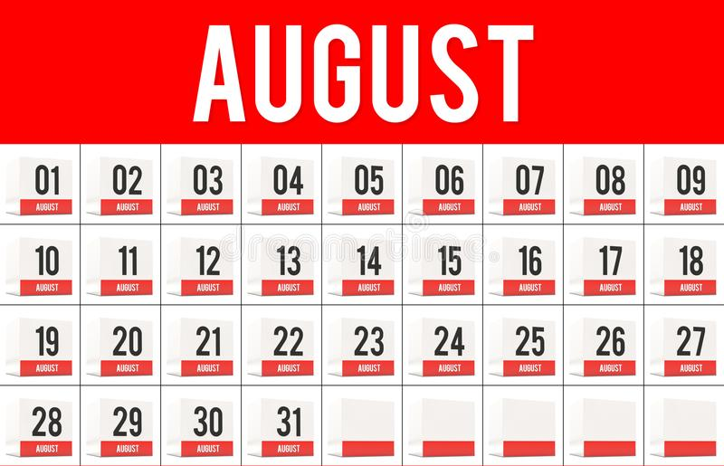 August days on calendar cubes royalty free illustration