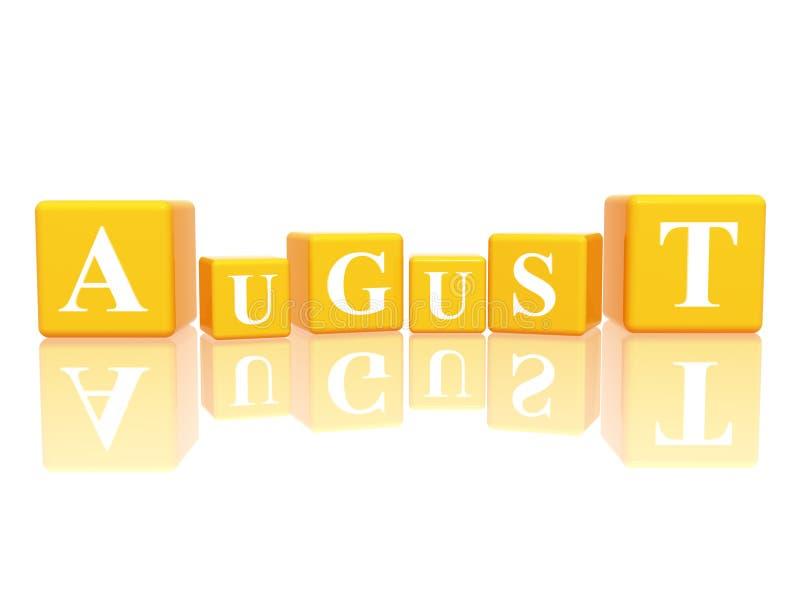 August in den Würfeln 3d stock abbildung