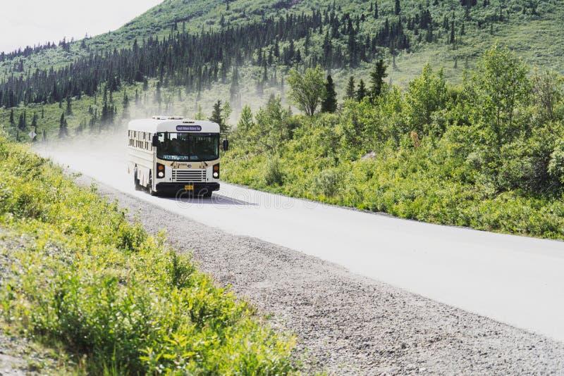 1. August 2018 - Denali Alaska: Obligatorischer Reisebus fährt hinunter die Nationalparkstraße Denali stockfotos