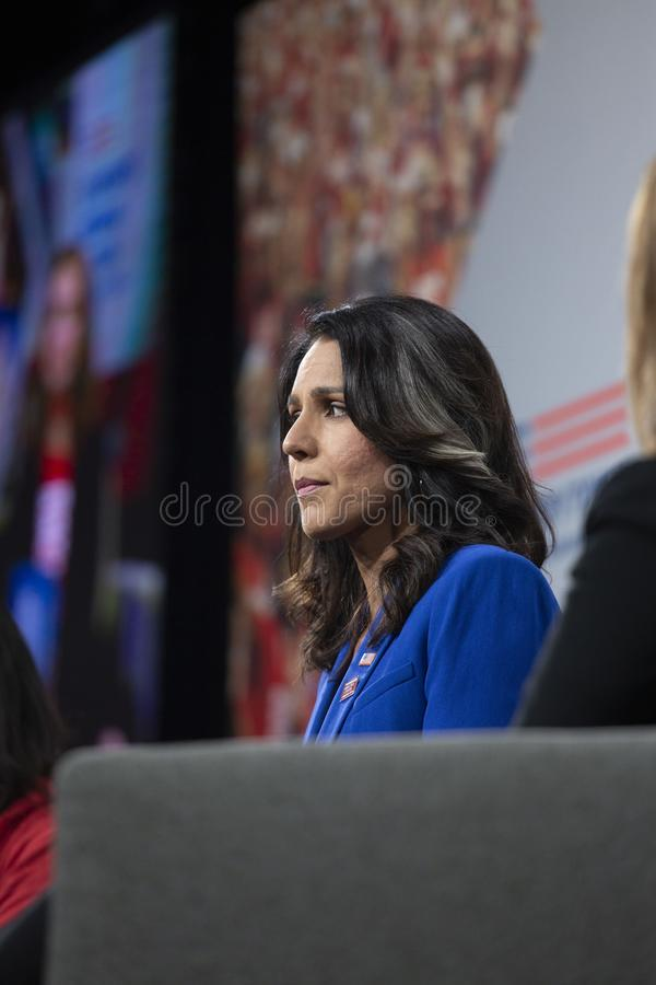 AUGUST 10, 2019-DES MOINES, IA/USA: Tulsi Gabbard speaks stock images