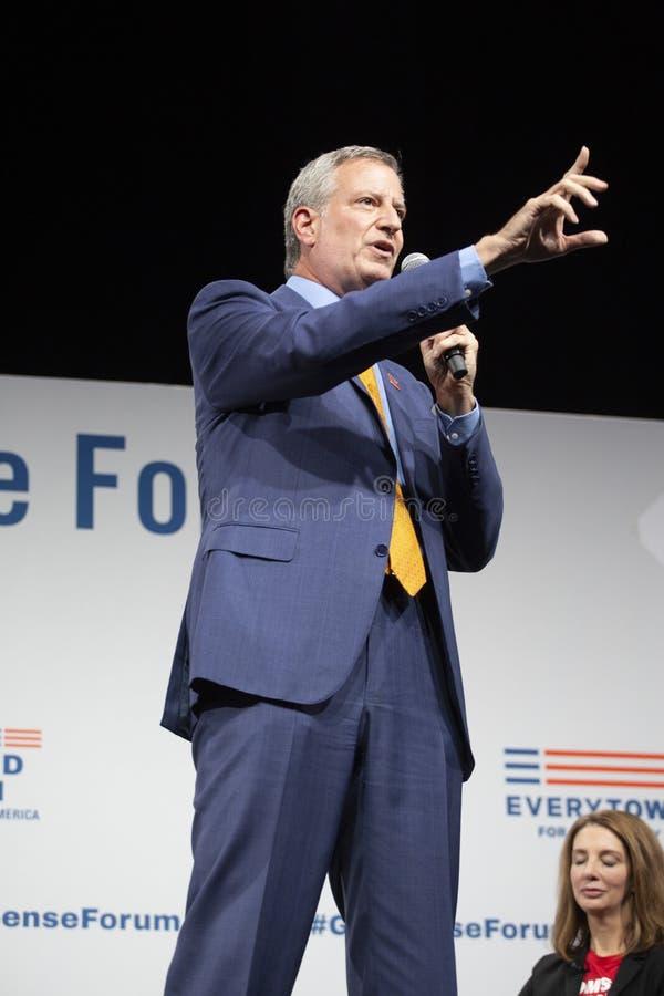 August 10, 2019 in Des Moines, Iowa: Bill de Blasio speaks stock photos