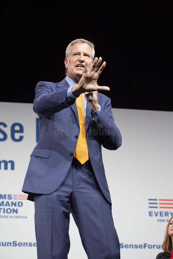 August 10, 2019 in Des Moines, Iowa: Bill de Blasio speaks royalty free stock photography