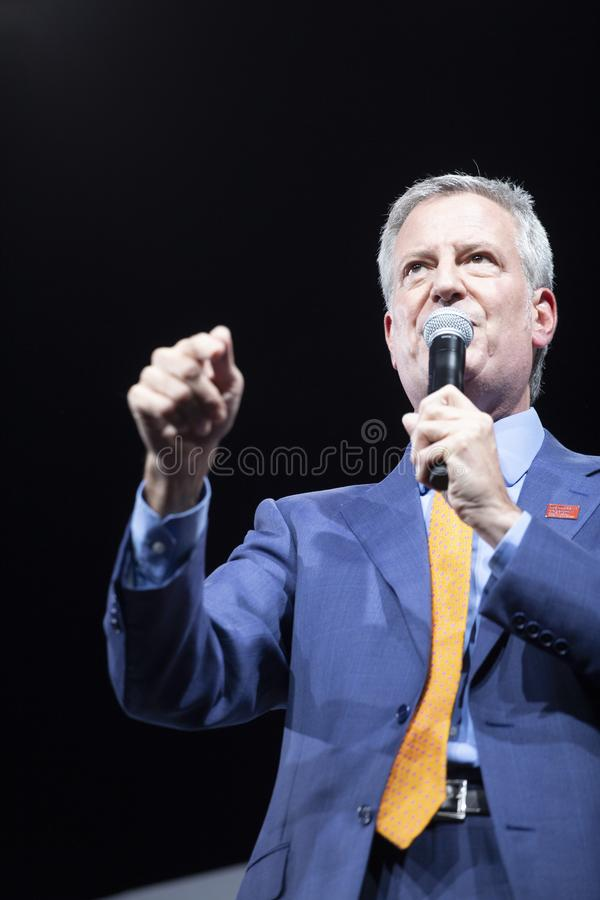 10. August 2019 in Des Moines, Iowa: Bill de Blasio spricht stockfoto