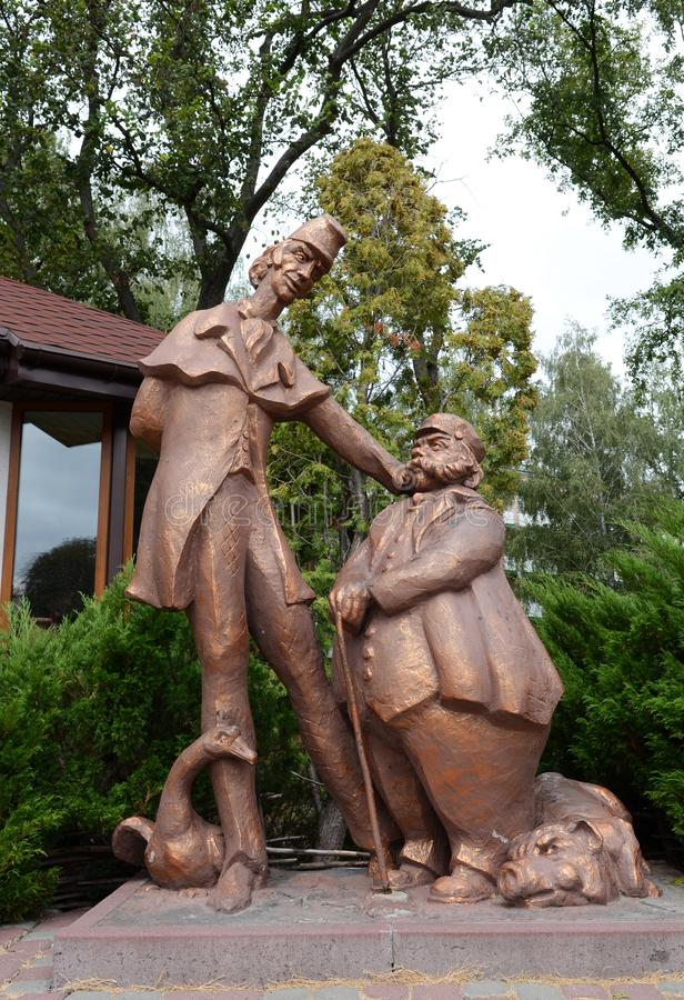 August 19, 2012 - sculptures of heroes of Gogol's works near the pond Mirgorod puddle stock photo