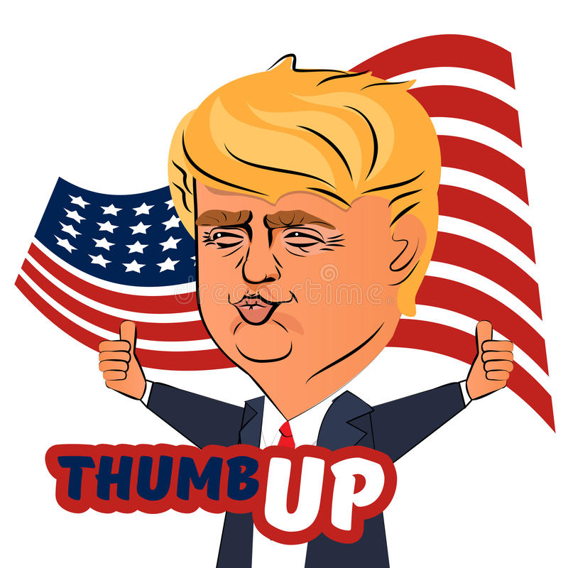 August 04, 2016 Donald Trump thumb up. August 04, 2016, Ukraine. Character portrait of Donald Trump thumb up giving a speech. Positive caricature of a prominent vector illustration
