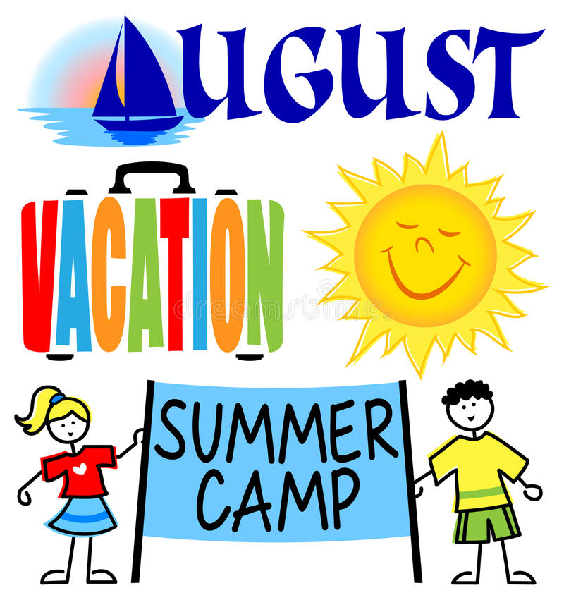 August Events Clip Art Set vektor illustrationer