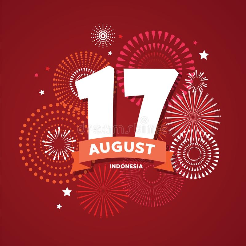 17 of August on firework background. poster for celebrate the national day of Indonesia. Indonesia Happy Independence. 17 of August on firework background stock illustration