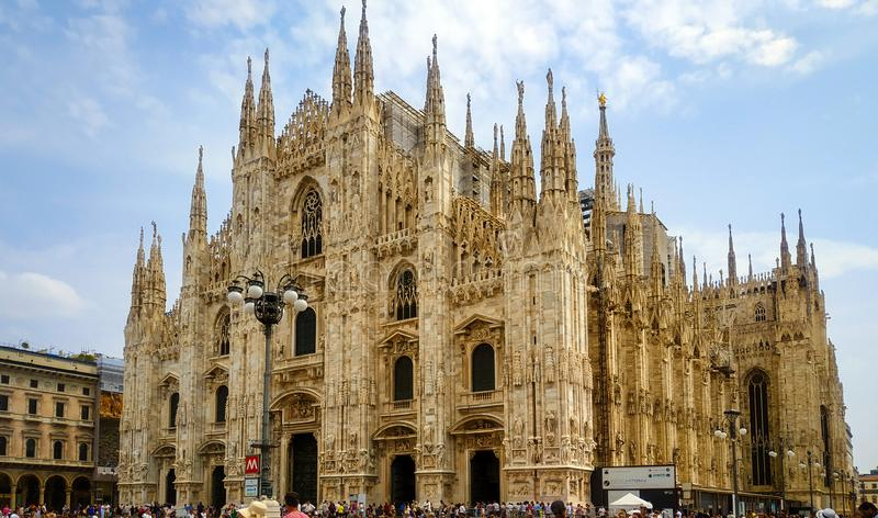 August, 2019 front view of Duomo Milan cathedral, Milan, Italy stock photos