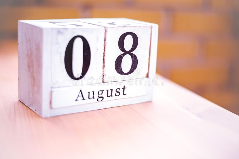 8. August-August 8 - Geburtstag - internationaler Tag - Nationaltag stockfotos