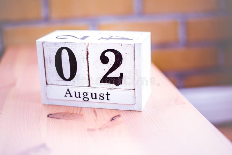 2. August-August 2 - Geburtstag - internationaler Tag - Nationaltag stockbild
