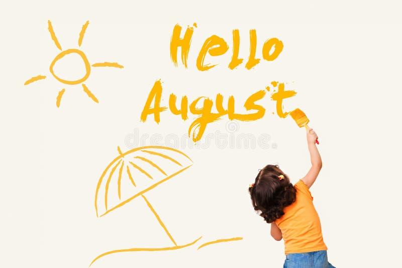 August Hello vektor illustrationer