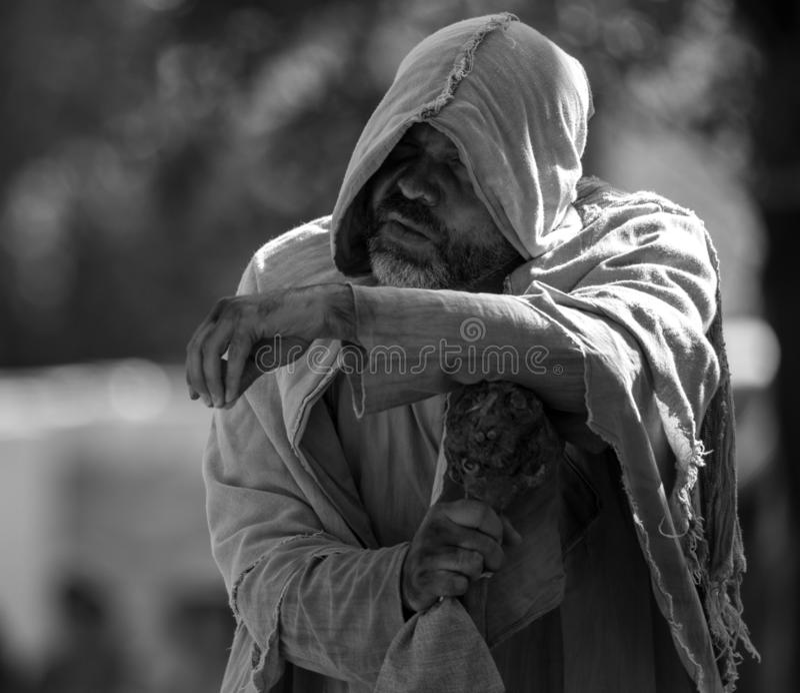 3 August 2019, Homeless actor during a medieval event `Viagem Medieval em Terra de Santa Maria` in Santa Maria da Feira. 3 August 2019, Homeless actor during a stock photography