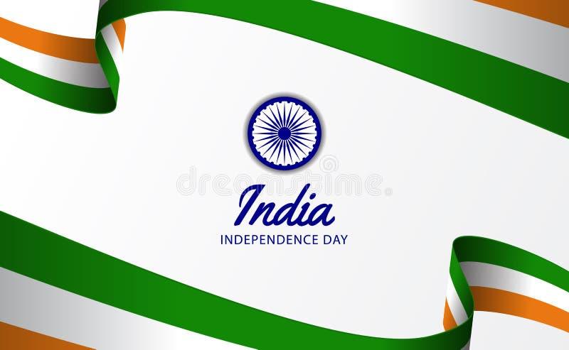 15 August India hindi independence day ribbon flag wave royalty free illustration