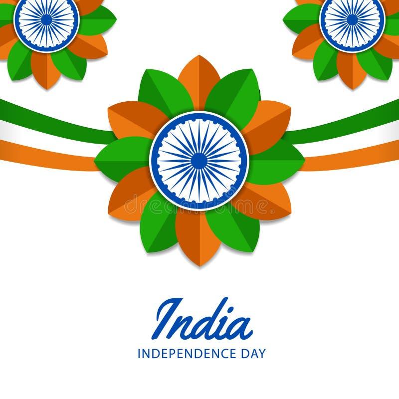 august Indien självständighetsdagen för 15 med den vinkande skavanken, ashokahjul stock illustrationer