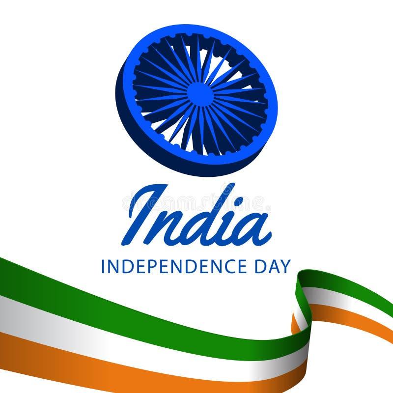 august Indien självständighetsdagen för 15 med den vinkande skavanken, ashokahjul vektor illustrationer