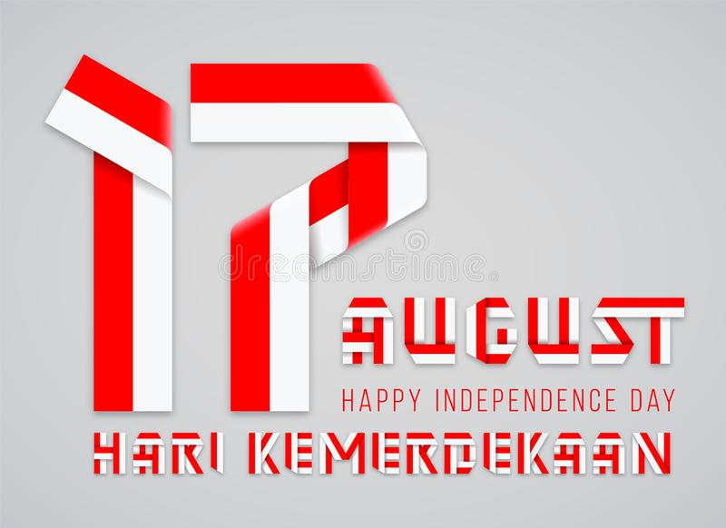 August 17, Indonesia Independence Day congratulatory design with Indonesian flag colors. Vector illustration royalty free illustration