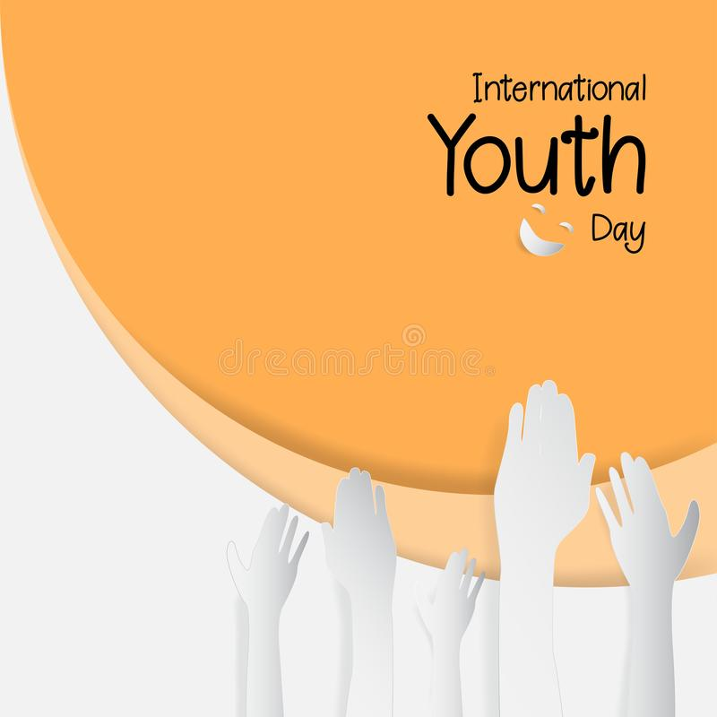 12 August International Youth day. Paper cut style. Vector illus vector illustration