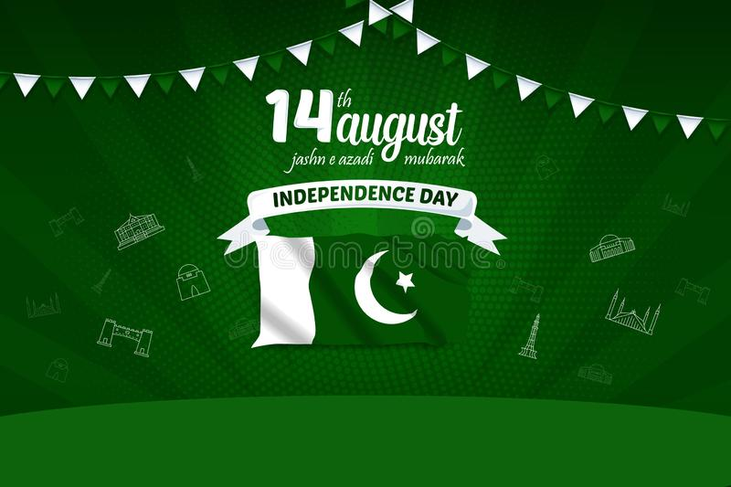 14 August Mubarak Pakistan Independence Day Vector Background Illustration stock illustration
