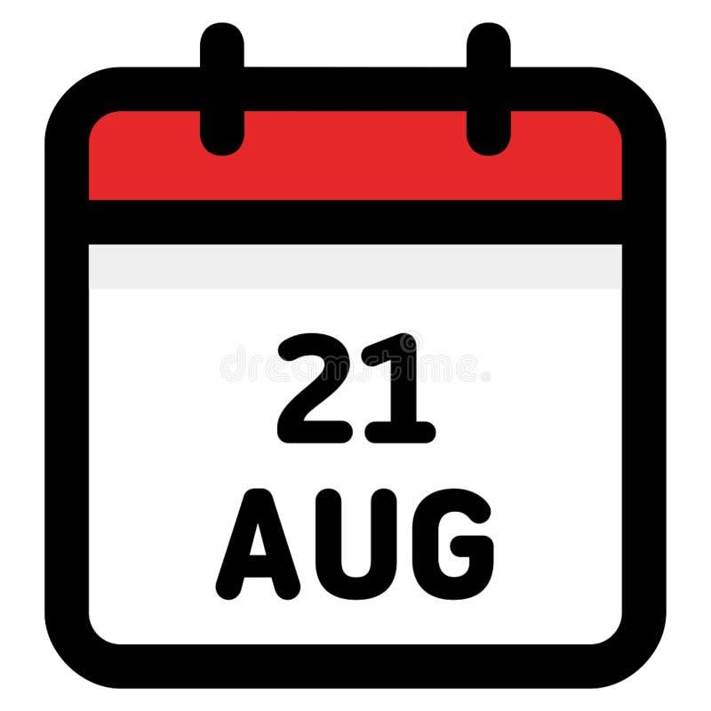 21 August - Kalender-Ikone - Vektor-Illustration stock abbildung