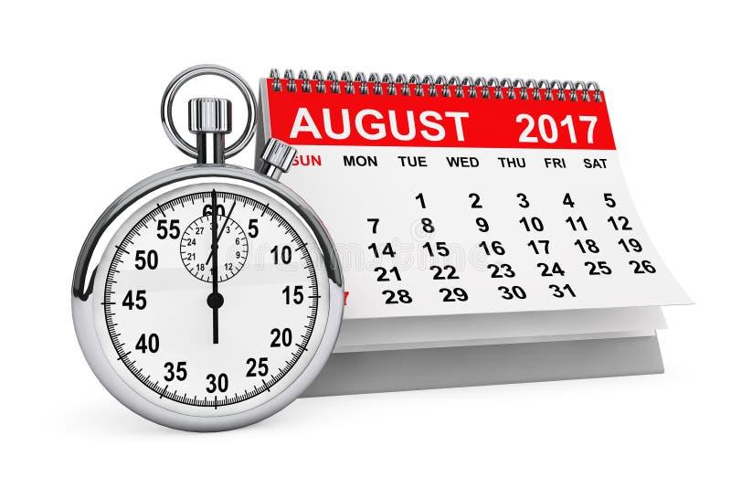 August 2017 Kalender mit Stoppuhr Wiedergabe 3d lizenzfreie abbildung