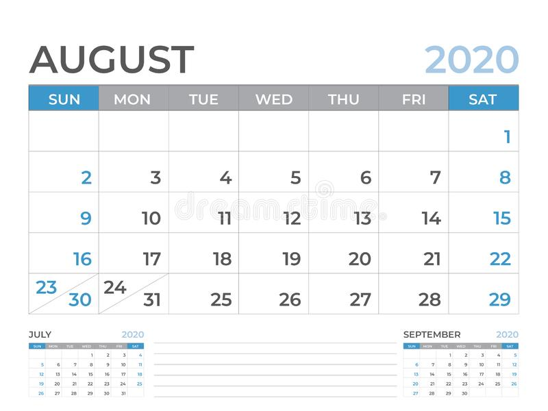 August 2020 Kalenderschablone, Tischkalender-Plan Größe 8 x 6 Zoll, Planerentwurf, Wochenanfänge am Sonntag, Briefpapierentwurf vektor abbildung