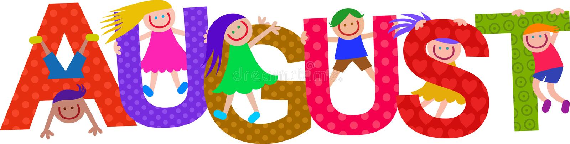 August Kids Text Title feliz ilustração do vetor