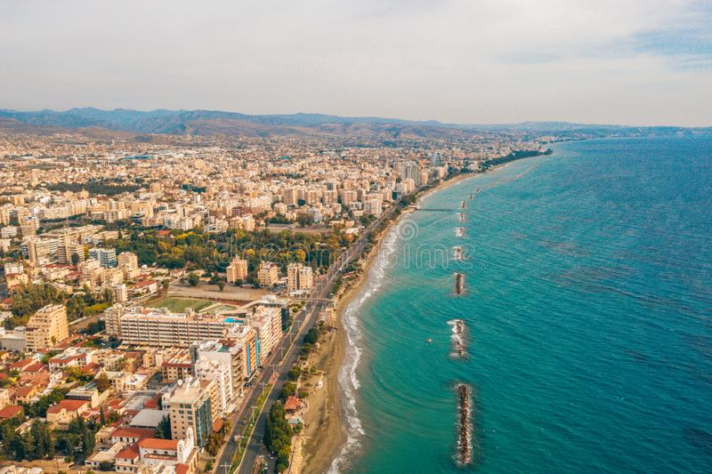 Panoramic city resort on the coast. Aerial view of the city of Limassol. stock image