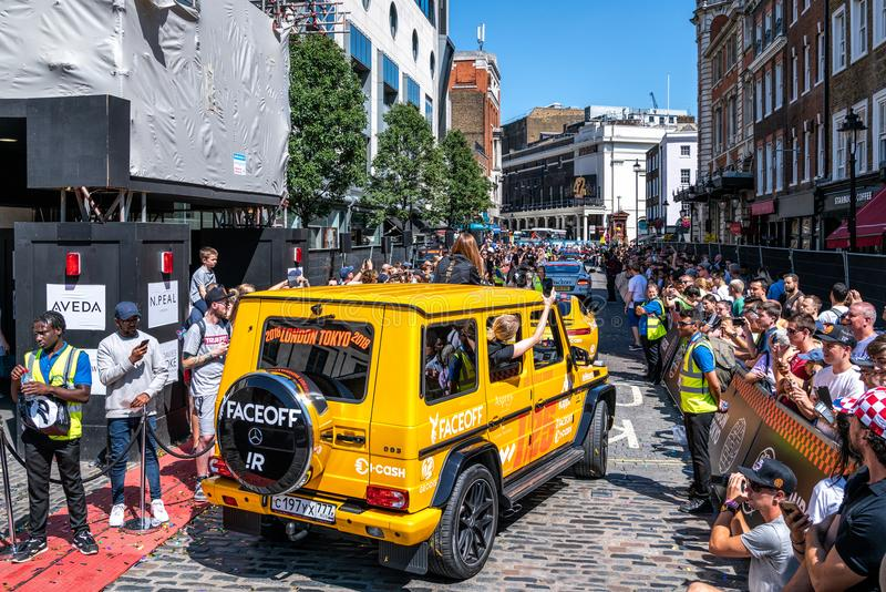 Yellow Mercedes AMG G63 SUV royalty free stock image