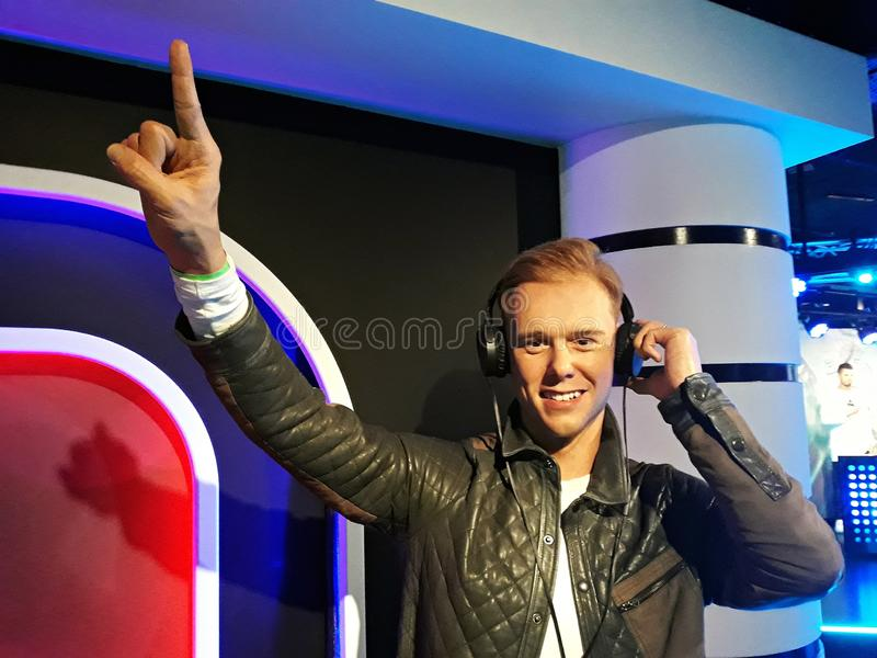 Wax figure of Armin van Buuren, at Madame Tussauds, Amsterdam. 1 August 2018, Madame Tussauds Wax museum in Amsterdam, the Netherlands, Europe. Wax figure of royalty free stock images