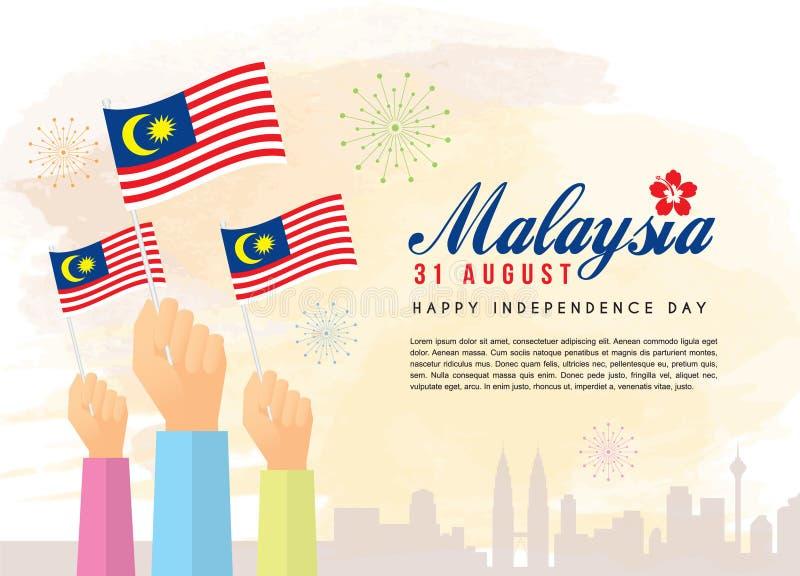 31. August Malaysia-Unabhängigkeitstag - Bürger, der Malaysia-Flaggen mit Stadtskylinen hält stock abbildung