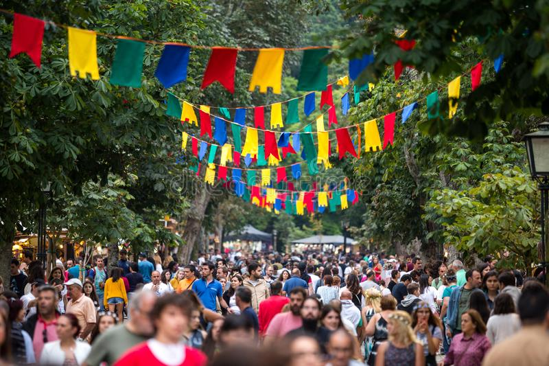 2 August 2019 - Medieval event `Viagem Medieval em Terra de Santa Maria` with overcrowded streets in Santa Maria da Feira. 2 August 2019 - Medieval event ` royalty free stock photography