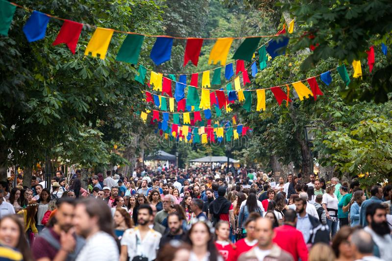 2 August 2019 - Medieval event `Viagem Medieval em Terra de Santa Maria` with overcrowded streets in Santa Maria da Feira. 2 August 2019 - Medieval event ` stock photo