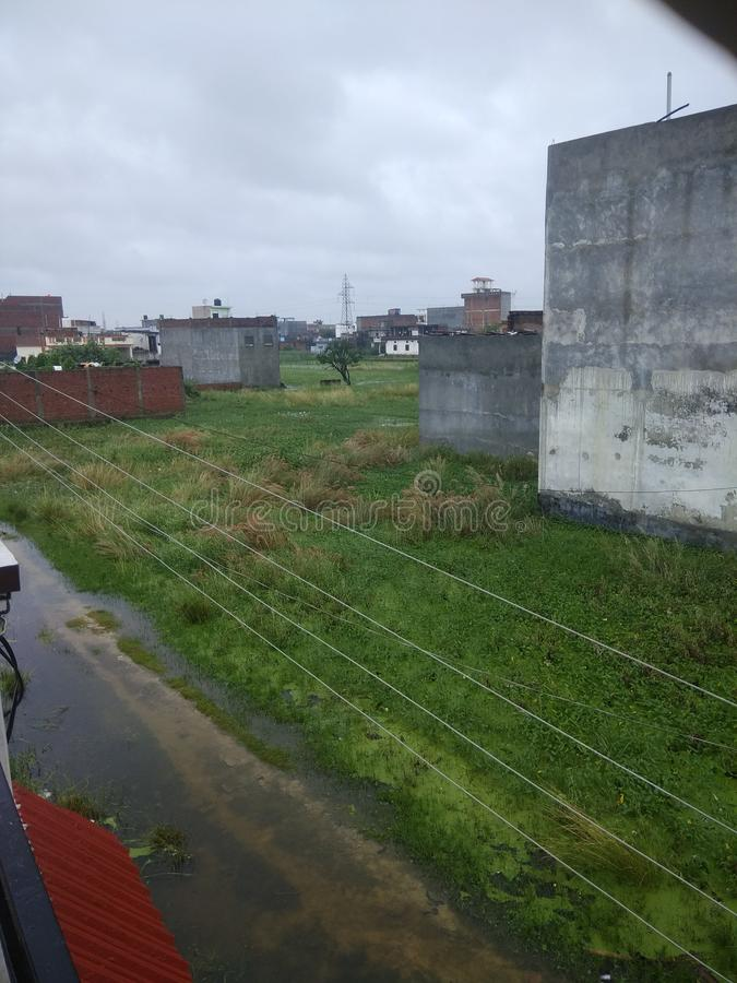 August month have havey rain fall and water loging in city. Gorakhpur up india royalty free stock photo