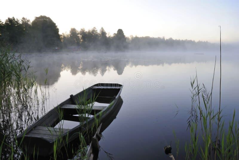 August morning lake stock photo
