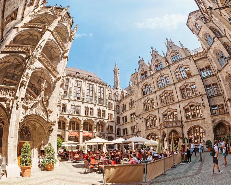Inner courtyard of New Rathaus Town Hall. 06 August 2019, Munich, Germany: Inner courtyard of New Rathaus Town Hall royalty free stock image
