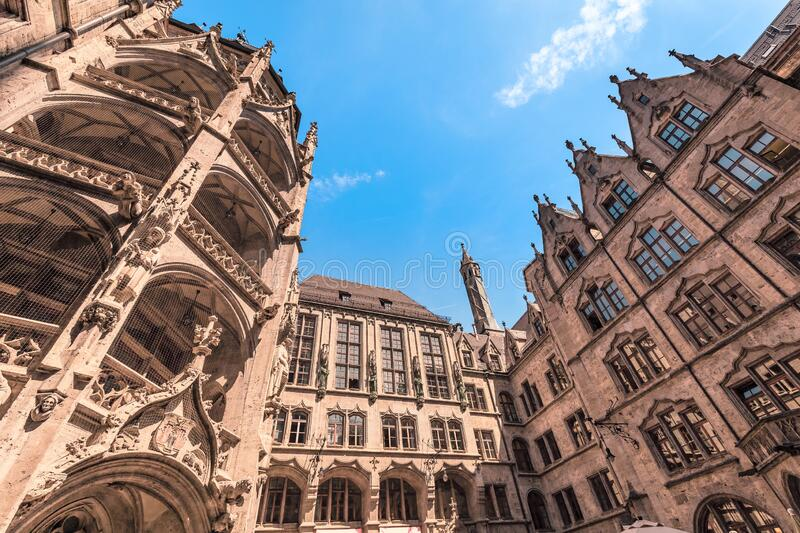 Inner courtyard of New Rathaus Town Hall. 06 August 2019, Munich, Germany: Inner courtyard of New Rathaus Town Hall stock photography