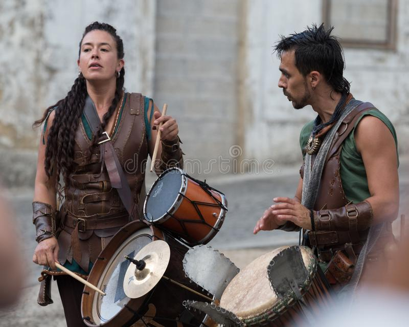 2 August 2019 - Music show during the medieval event `Viagem Medieval em Terra de Santa Maria` in Santa Maria da Feira. 2 August 2019 - Music show during the royalty free stock images