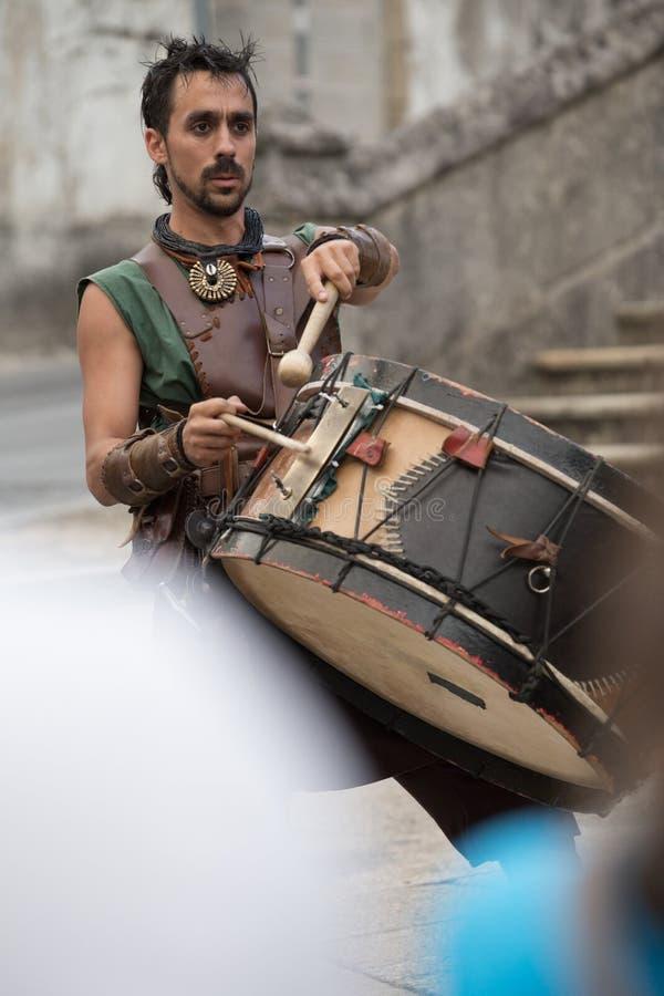 2 August 2019 - Music show during the medieval event `Viagem Medieval em Terra de Santa Maria` in Santa Maria da Feira. 2 August 2019 - Music show during the royalty free stock photos