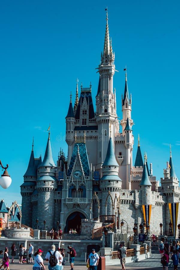 August 15, 2018 - Orlando, FL: View of Cinderella`s castle at the Walt Disney World amusement park. August 15, 2018 - Orlando, FL: Cinderella`s castle at the stock photos