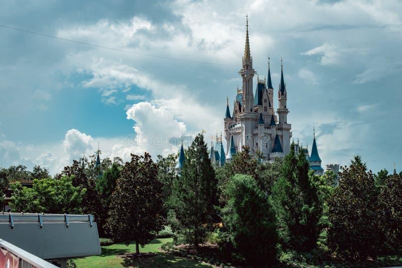 August 15, 2018 - Orlando, FL: View of Cinderella`s castle at the Walt Disney World amusement park. August 15, 2018 - Orlando, FL: Cinderella`s castle at the royalty free stock photography