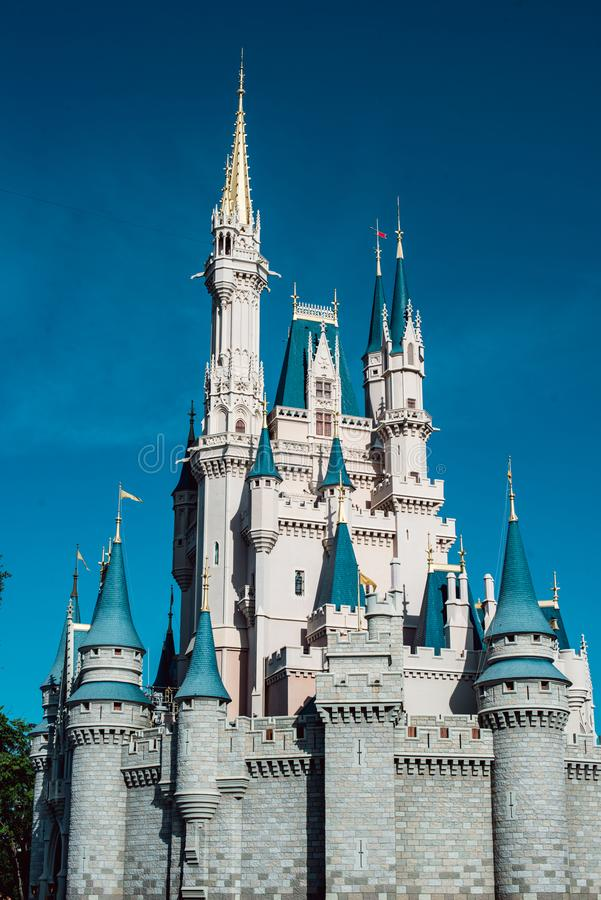 August 15, 2018 - Orlando, FL: View of Cinderella`s castle at the Walt Disney World amusement park. August 15, 2018 - Orlando, FL: Cinderella`s castle at the royalty free stock photo